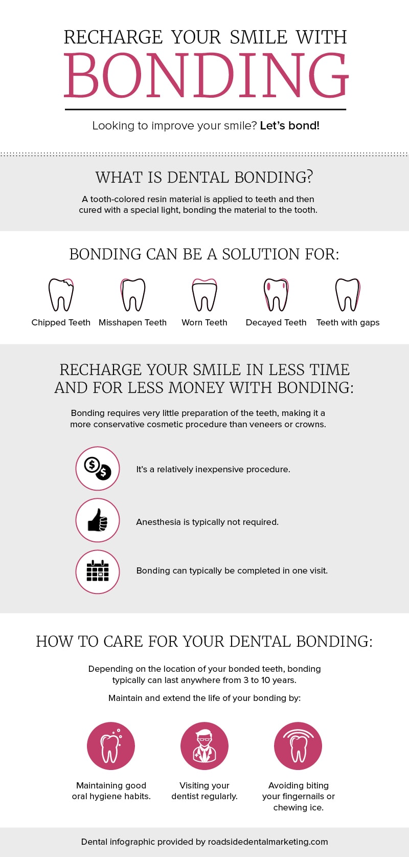 Dental infographic - Recharge your smile with dental bonding!